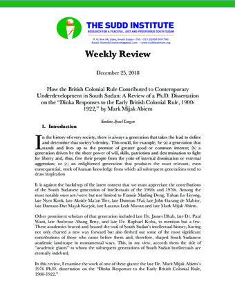 The Sudd Institute Publications